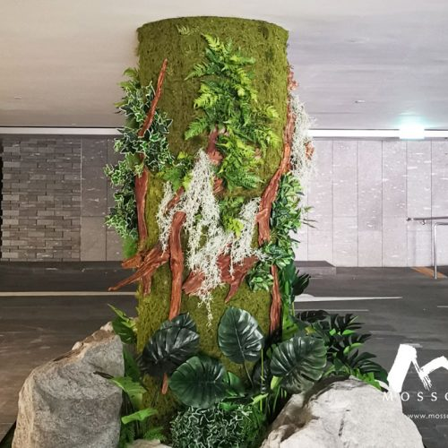 Artificial vertical garden pillar at Nassim Road residence