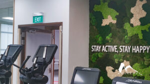 Soothing green wall at Active SG