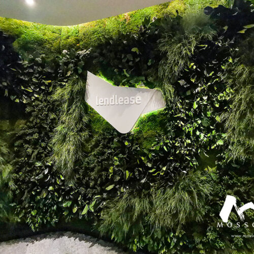Preserved green wall at the entrance of Lendlease office