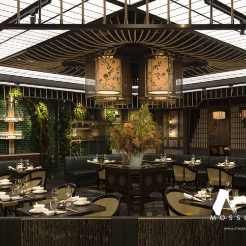 Preserved nature decor in MOTT32 restaurant at Marina Bay Sands