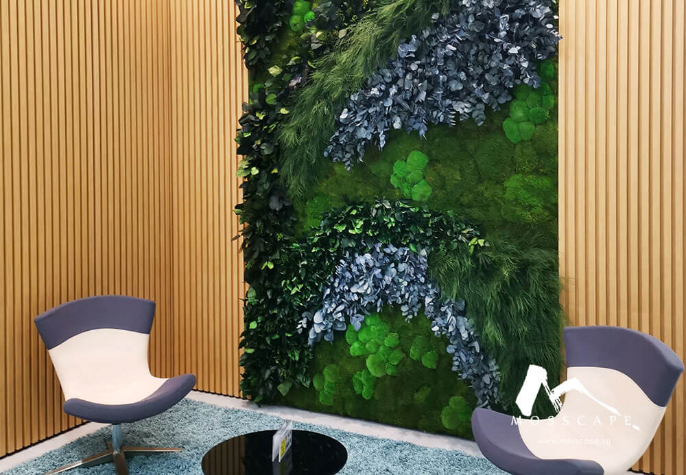 Preserved moss wall in Roche office
