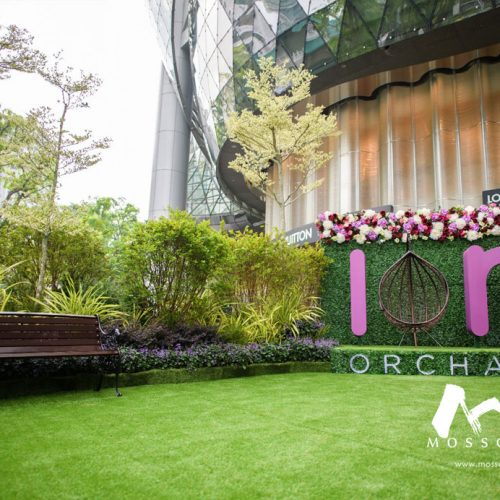 Landscape made with artificial greenery at Ion Orchard