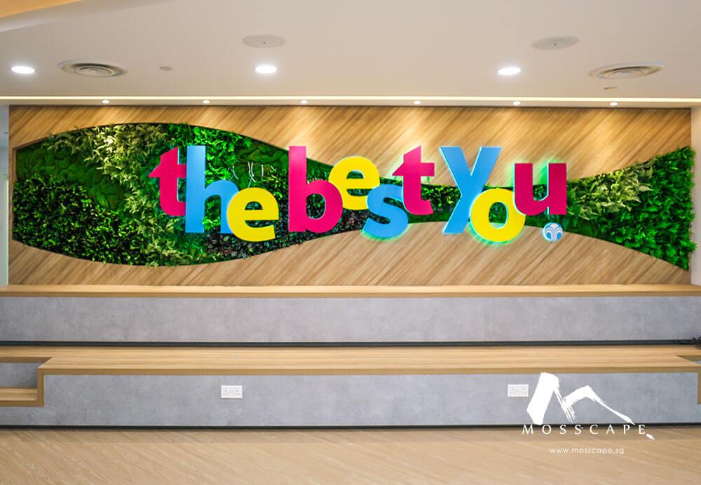 Preserved moss wall for Nuskin tagline